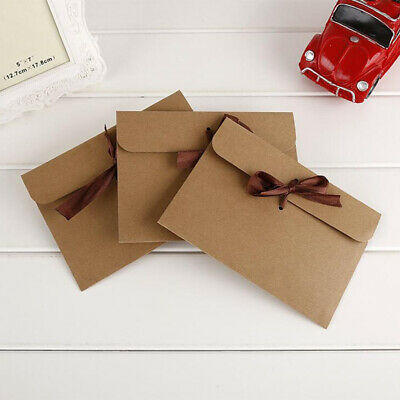 30pcs Brown Kraft Paper Envelopes with Ribbons for Wedding Party Invitation Card