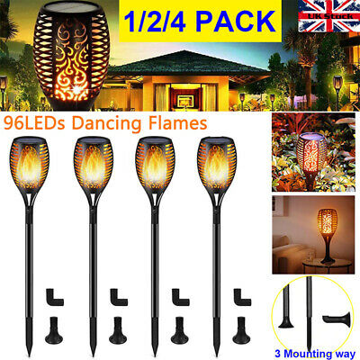Solar Powered 96 LED Waterproof Flickering Flame Lights Torch Garden Patio Light