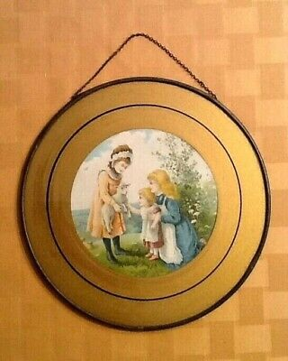 Antique Chimney Flue/Stove Pipe Cover Featuring Spring Scene w/Children & Sheep