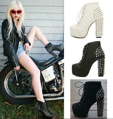 Womens Punk Rock Spike Lace Up Gothic Platform Rivet Block Heel Ankle Boot Shoes