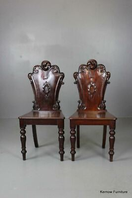 Pair Antique Mahogany Victorian Hall Side Occasional Chairs