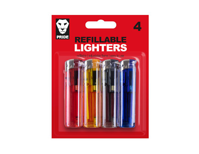 New 4 Pack. Electronic Lighters Refillable With Adjustable Flame Best Gifts
