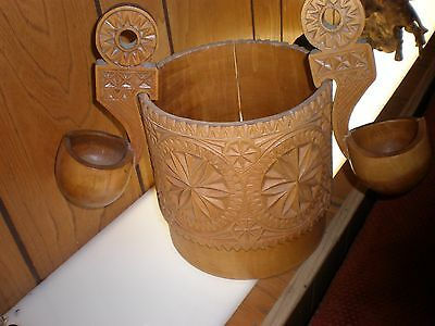 Vintage Russian Carved Wooden Cup Drinking Vessel Kovsh STORAGE LADLE HAND MADE