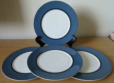 "4 x MARKS and SPENCER (M&S) MANHATTAN Blue 9¼"" SALAD PLATES Used Condition"