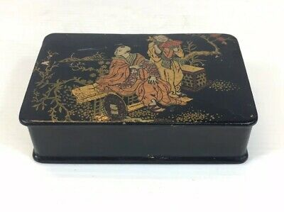 Antique Japanese Lacquer Papier Mache Box With Figural Decoration 3cm In Height