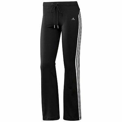 Girls Black Adidas Track Suit Bottoms Pants Size 8Y Climalite Gym P.E Sport NEW