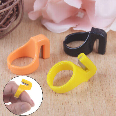 3X plastic sewing thimble ring with blade finger thimble thread *cutter DIY tool