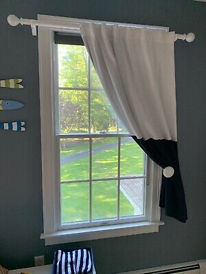 pottery barn kids blackout panel, 44 X 63 Inches, Navy Blue and White