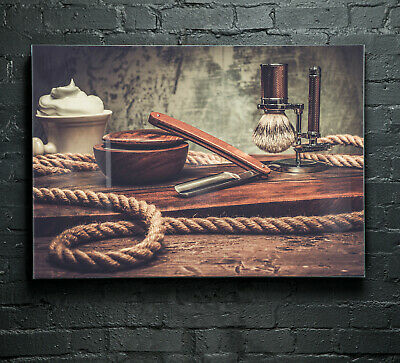 Canvas Prints Wall Art on Fade Proof Glass Photo ANY SIZE Barber Shop 37063497