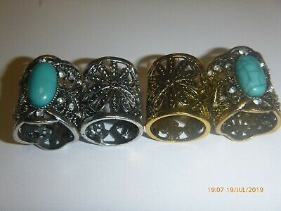 Turquoise Goldtone Silvertone Cravat Scarf Hijab Buckle Clasp Clip Loop Ring