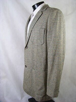 Pendleton Blazer Tan Brown Blue Houndstooth Wool Mens 40 VTG