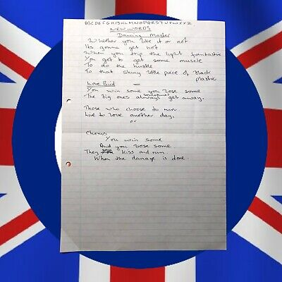 "The Who's John Entwistle Handwritten ""NEW"" Lyrics for DANCING MASTER with COA"