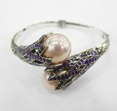 925 Sterling Silver Handmade Authentic Turkish Pearl Bracelet Bangle Cuff