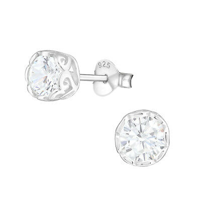 925 Sterling Silver Crystal Cubic Zirconia Circle Stud Earrings (Design 62)