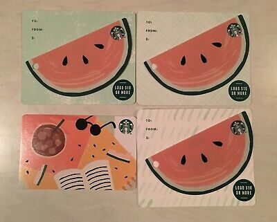 Starbucks 2019 3 Die Cut Watermelon Cards Summer Cherry 4 Card Lot JUST RELEASED