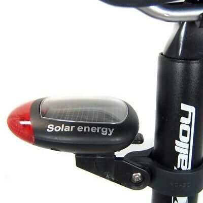 2 LED Red Bike Bicycle Solar Energy Rechargeable Tail Rear Light Flash Light RF