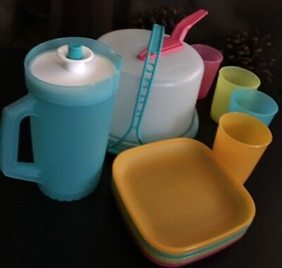Tupperware Mini Party Set -  Cake Taker Pitcher  Tumblers and Plates New