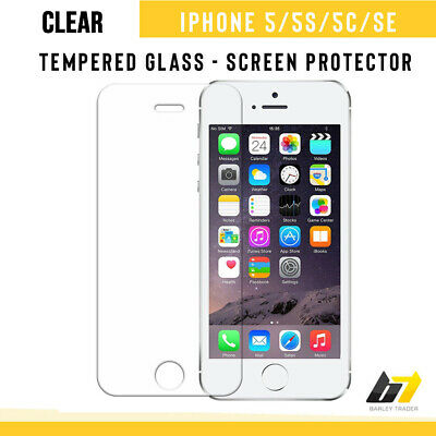 Genuine Tempered Glass Screen Protector Clear LCD Cover For iPhone 5 5S 5C SE