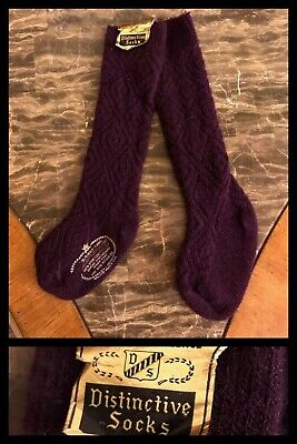 Vintage Knee High Socks Girls Purple Orlon Nylon Hippy Cable 1970s Sz 6 - 8.5