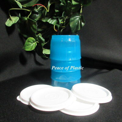 Tupperware NEW Peacock Blue Lunch SNACK CUP CUPS Set of 4 Bowl White Lids Seals