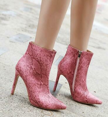 Womens Sexy Snakeskin Pointed Toe High Slim Heels Stilettos Ankle Boots SZ A552