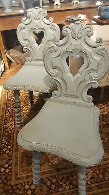 A Pair Of Shield backed chairs Antique French Bedroom/Hall (duck egg blue)