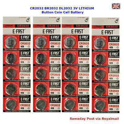 10 x CR2032 BR2032 DL2032 Branded 3V LITHIUM Button Coin Cell Battery - UK Stock