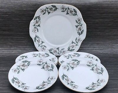 Crown Staffordshire Pear Blossom Cake Serving Plate & 6 Side Plates