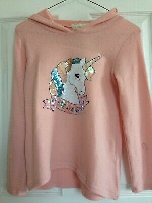 Girls Light Pink Soft Dazzling Sequin Magical Unicorn Hoodie Sweater Size 10 NWT