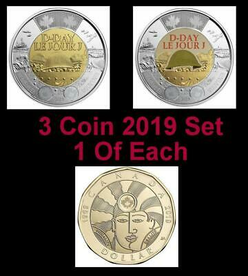 2019 CANADA 🥇 3 Coin Mini Set; D-Day Coins + Equality $1- All BU from Roll 🏆