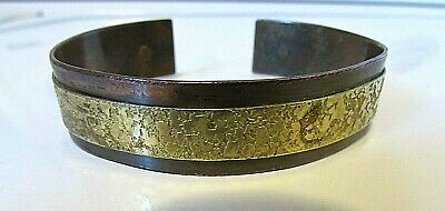 Vintage Chile Signed Mixed Metals Brass & Copper Cuff Bangle Bracelet