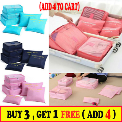 6PCS Travel Luggage Organiser Cube Clothes Storage Pouch Suitcase Packing Bags G