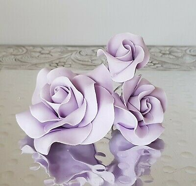 Rose PALE PURPLE set- Edible Sugar Flowers - Fondant Gumpaste - ChappCakes Decor