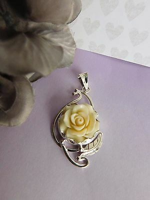 Taxco Mexican Sterling Silver 925 celluloid resin vintage style rose pendant