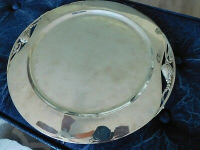 """Vintage Mexican Sterling Silver 14""""round platter tray footed  2lbs+ scrap dish"""