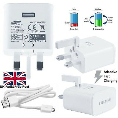 UK Genuine Fast Charger Plug & Cable For Samsung Galaxy S7 Edge S6 S5 Note 4 5