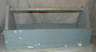 """Vintage Gray Painted Wooden Carpenter's Tool or Garden Carrier Caddy 24"""" Long"""