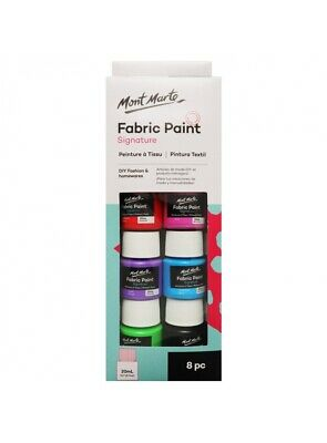 Fabric paint set 8 x 20ml Mont Marte Textile Permanent Basic Colours Art Craft