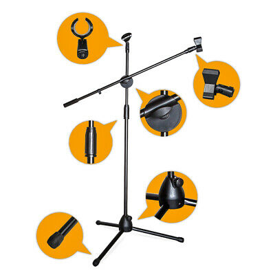 360-degree Rotate Microphone Boom Bracket Stand Foldable Adjust Tripod Clip Bag
