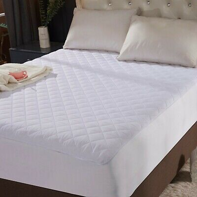"Queen Size Quilted Mattress Protector Pad Topper Cover 16"" Deep Fitted Bed Sheet"
