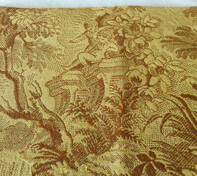 Antique Vintage French Scenic Garden Cherub Tapestry Fabric ~ Yellow Gold Brown