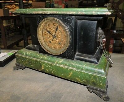 Antique Wood and Metal Green and Black Mantle Shelf Clock (VCE)