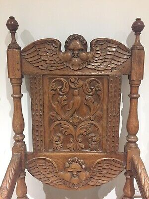 Antique Pair 19th C Victorian Oak Carved Chairs