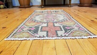 "Antique Distressed Bohemian Turkish Tribal Rug 1'6"" × 3"""