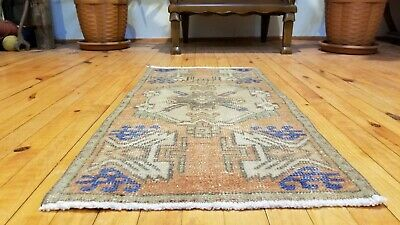 "Antique Turkish Distressed Bohemian Tribal Rug 1'5"" × 3"""