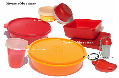 Tupperware Mini Keychains Smidgets Wonder Bowls Pill Box Containers Red Orange