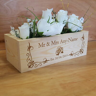 Mr&Mrs Flower Box Wooden Crate Rustic Wedding Table Centerpiece Personalised