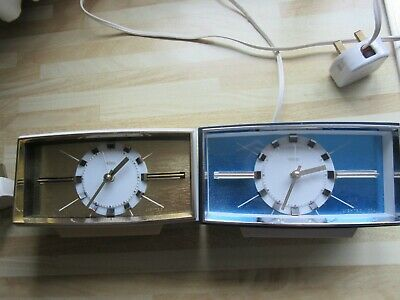 Vintage 1960S Metamec Electric Clocks X 2 One Blue One White. Vgc