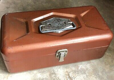 Vintage Fishing - Sears Roebuck JC Higgins Orange Metal Tackle Box