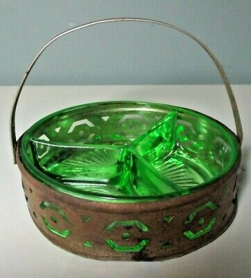 Vintage Depression-Style DIVIDED GREEN GLASS DISH ~ 3 Sections w. METAL CADDY